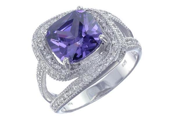 Sterling Silver Purple and White CZ Cushion Cut Antique Ring In Size 6