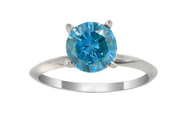 14K White Gold Blue Diamond Solitaire Ring (1 CT) In Size 7