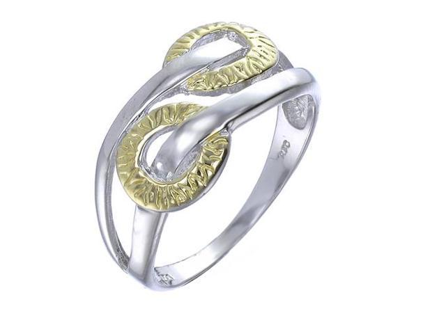 Yellow Gold Plated Sterling Silver Ring In Size 8