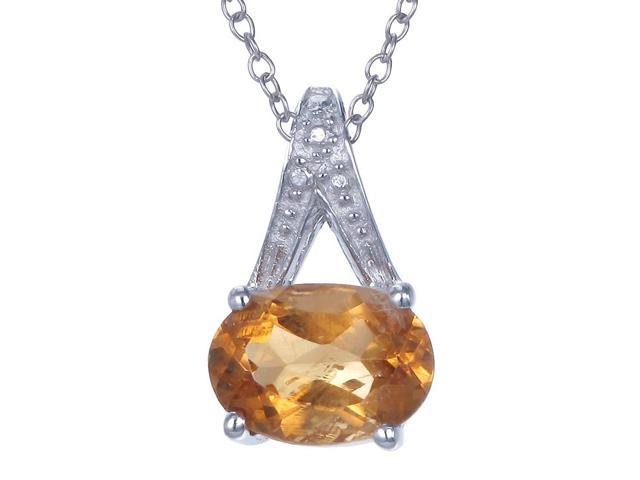 Sterling Silver Citrine Pendant (1.20 CT) With 18 Inch Chain
