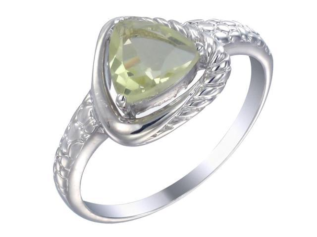 Sterling Silver Lemon Quartz Ring (1 CT) In Size 9
