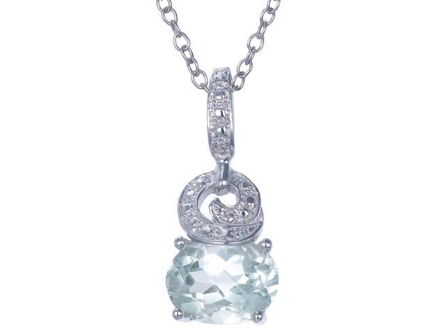 Sterling Silver Green Amethyst Pendant (1.70 CT) With 18 Inch Chain