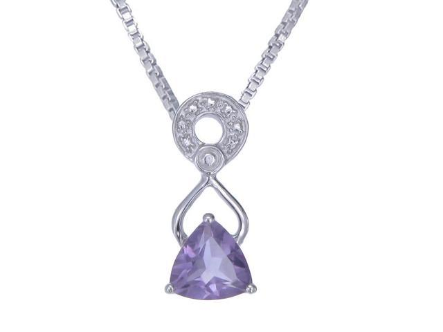 Sterling Silver Amethyst Pendant (1 CT) With 18 Inch Chain