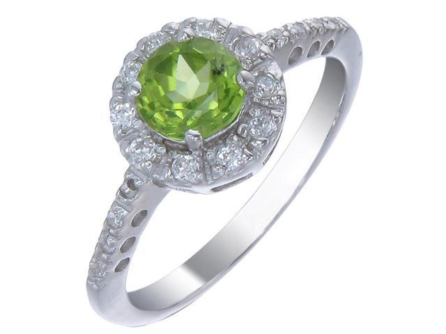Sterling Silver Peridot Ring In Size 7