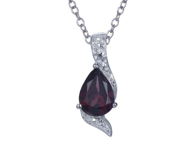 Sterling Silver Garnet Pendant With 18 Inch Chain