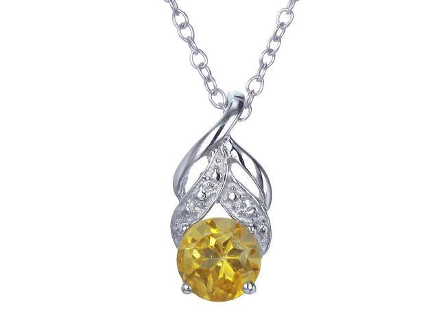Sterling Silver Citrine Pendant (3/4 CT) With 18 Inch Chain