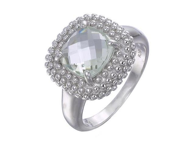 Sterling Silver Green Amethyst Ring (2 CT) In Size 7