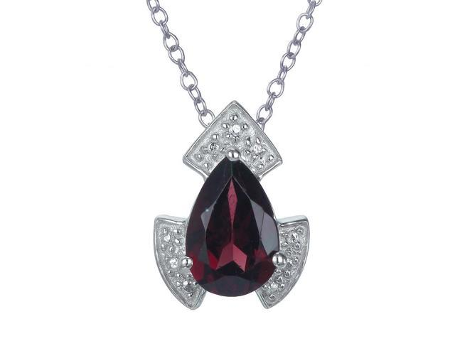 Sterling Silver Garnet Pendant (1.10 CT) With 18 Inch Chain