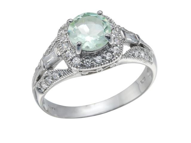 Sterling Silver Green Amethyst Ring (0.80 CT) In Size 8
