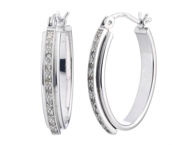 Sterling Silver Diamond Hoop Earrings (1/10 CT)