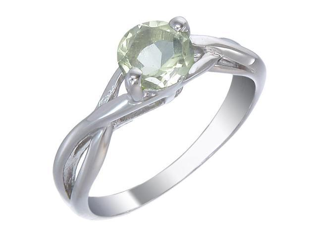 Sterling Silver Lemon Quartz Ring (3/4 CT) In Size 9