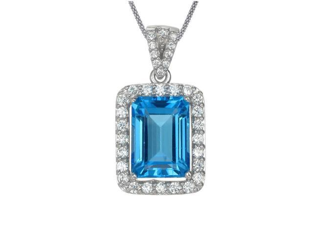 FineDiamonds9 P19023BT 7 CT Emerald Cut Blue Topaz Pendant In Sterling Silver With 18