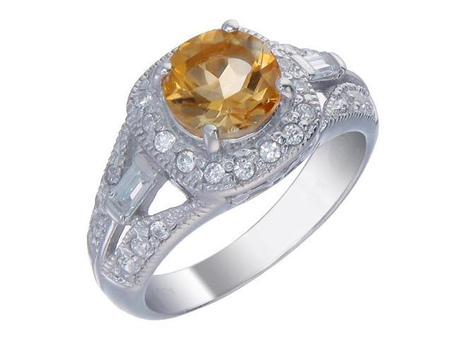 Sterling Silver Citrine Ring (1 CT) In Size 6