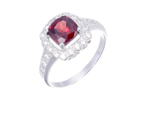 Sterling Silver Garnet Ring (1.10 CT) In Size 6