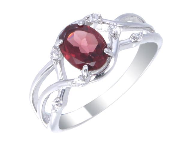 Sterling Silver Garnet Ring (1.10 CT) In Size 5