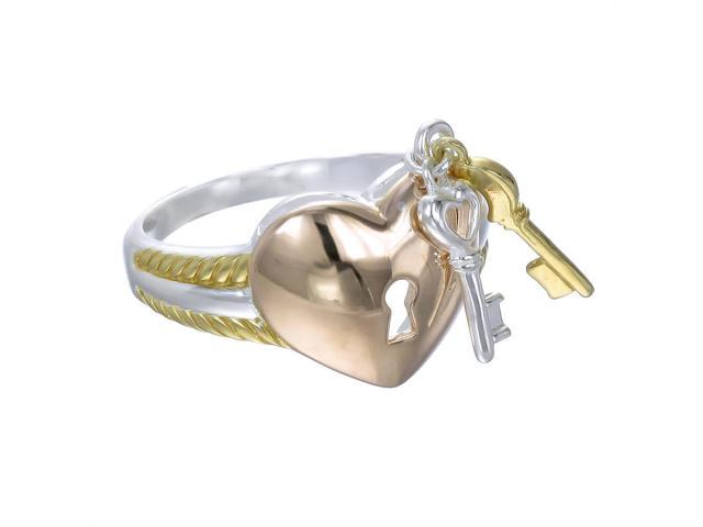 Yellow Gold Plated Silver Heart With Lock And Key Ring Size 8