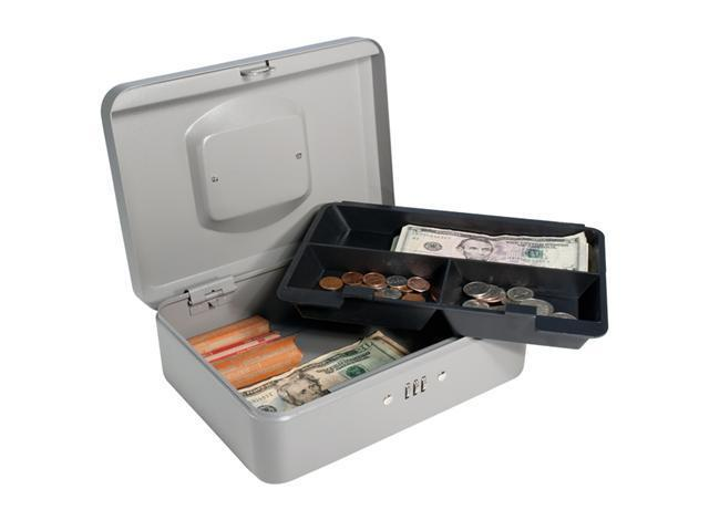 10 Inch Gray Cash Box with Combination Lock