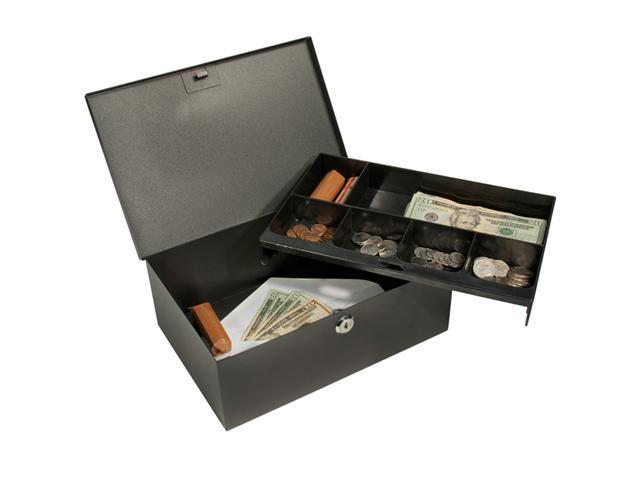Cash Box and 6 Compartment Coin Tray with Key Lock