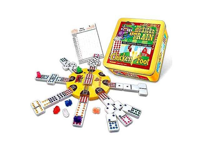 Mexican Train and Chickenfoot Dominoes - The Complete Dual Game Set in a Tin