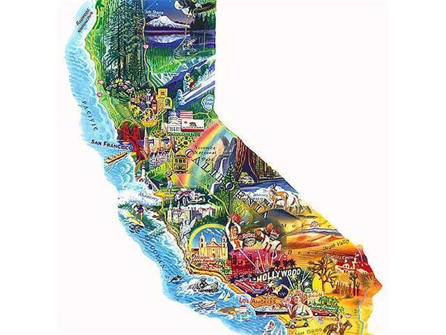 Sun & Fun - California Shaped Puzzle: 1000 Pcs