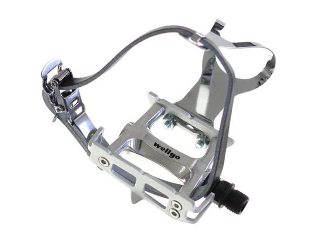 Wellgo Track Fixie Bike Pedals w/ Toe Clips and Leather Strap Silver