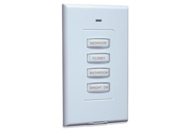 X10 PHW04D-W or RSS18 Wireless 4-Button X10 Wall Switch - White with White Inset