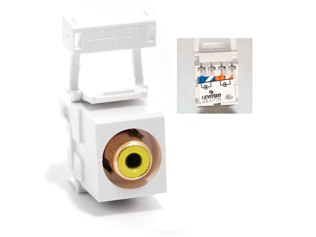 Leviton 40735-RYW RCA 110-Type QuickPort Connector, Yellow