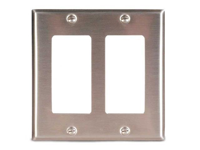 Leviton 84409-40 Double-Gang Decora-Style Wall Plate, Brushed Stainless Steel