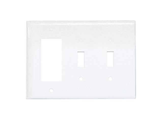 Leviton 80421-W One Decora/Two Toggle-Style Combination Wall Plate, White