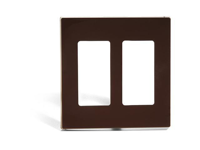 Leviton 80309 Double-Gang Screwless Decora Wall Plate, Brown
