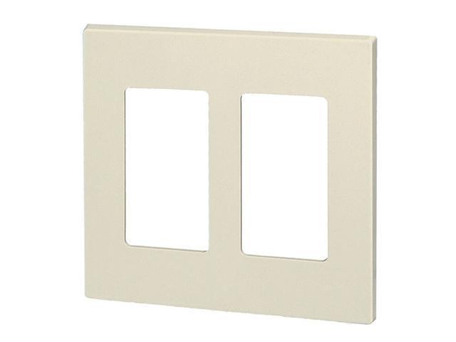 Leviton 80309-ST Double-Gang Screwless Decora Wall Plate, Light Almond