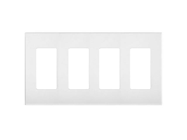 Leviton 80312-SW Four-Gang Screwless Decora Wall Plate, White