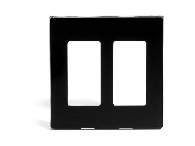 Leviton 80309-SE Double-Gang Screwless Decora Wall Plate, Black