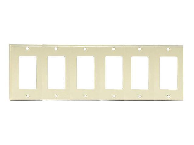 Decora Switch 6-Gang Plate Ivory LEVITON MFG Decorative Switch Plates 80436-I