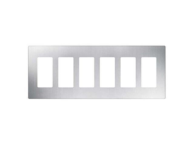 Lutron CW-6-SS Claro 6-Gang Wallplate, Stainless Steel