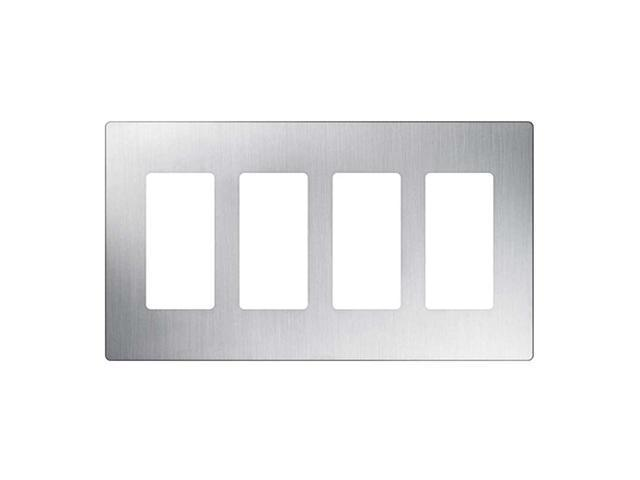 Lutron CW-4-SS Claro 4-Gang Wallplate, Stainless Steel