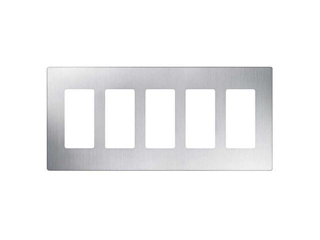 Lutron CW-5-SS Claro 5-Gang Wallplate, Stainless Steel