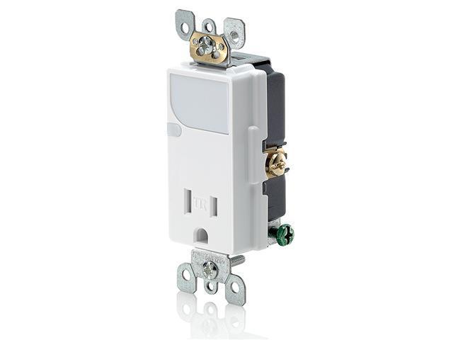 Leviton T6525-W Combination Decora Tamper Resistant Receptacle with LED Guide Li