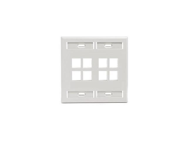 Leviton 42080-8WP 8-Port 2-Gang QuickPort Wall Plate, White
