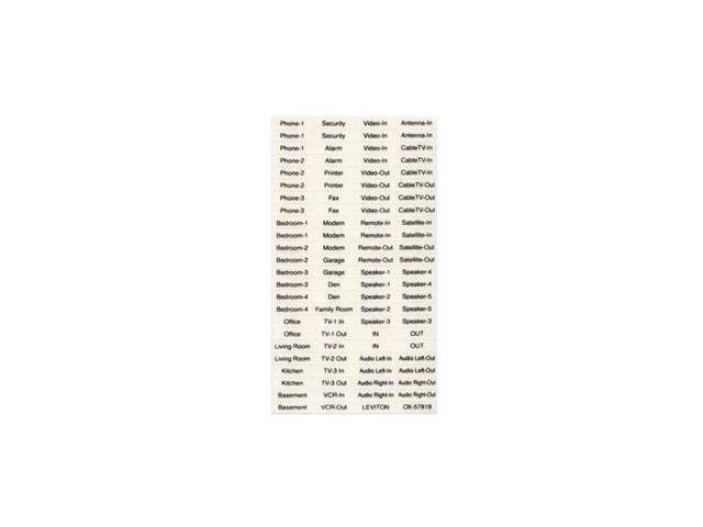 Leviton 40740-BE Quickport Labels (Home Use), 10 Sheets Of 94 Labels