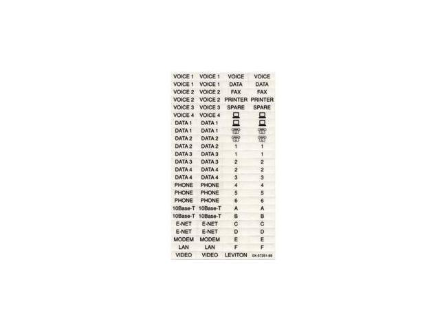 Leviton 41080-LEB Quickport Labels (Commercial Use) 10 Sheets Of 94 Labels