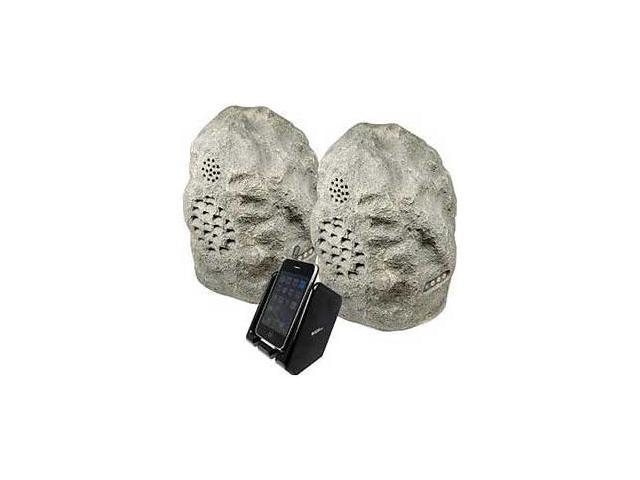 Audio Unlimited SPK-ROCK-DUO2 Wireless Weather Resistant Rock Speaker System, Gr