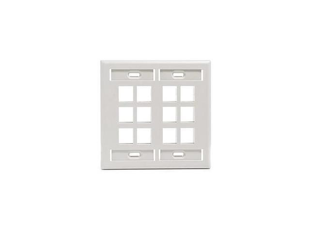 Leviton 42080-12W 12-Port 2-Gang Quickport Wall Plate, White