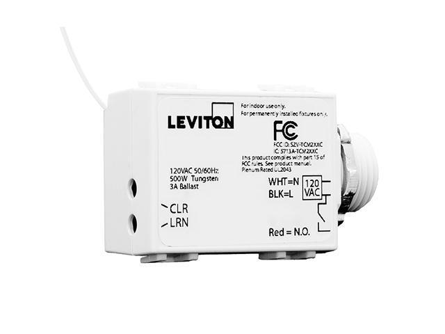 Leviton WST05-10 LevNet RF Threaded Mount Wireless Self-Powered 3-Wire Relay Rec