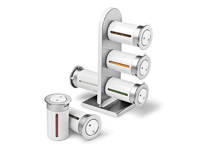 Zevro MSRS601 Countertop 6-Canister Magnetic Spice Stand - White