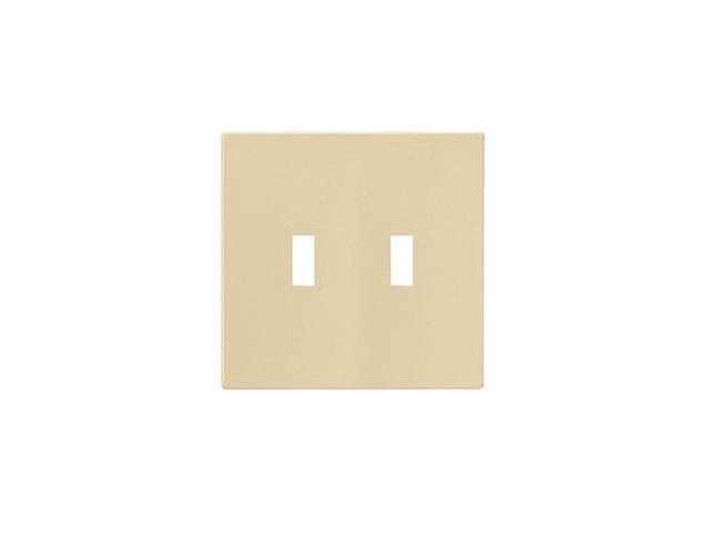 Cooper Wiring Devices PJS2V Screwless 2-Gang Toggle Wallplate, Ivory
