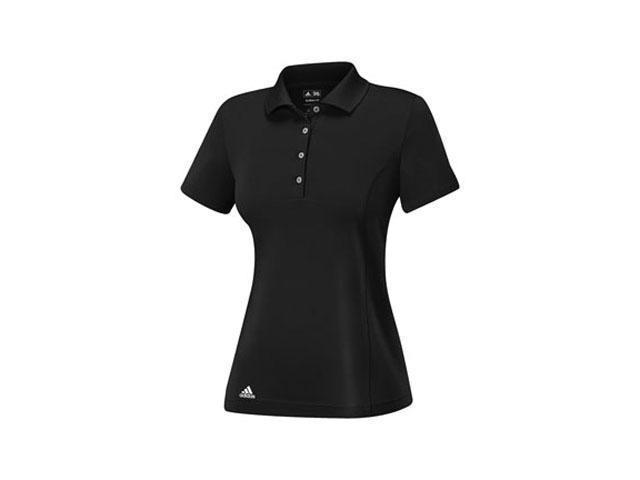 Adidas 2014 Women's ClimaLite Essentials Short Sleeve Solid Polo Shirt  (Black/White - L)