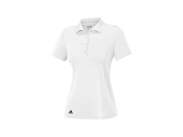 Adidas 2014 Women's Puremotion Solid Jersey Polo Shirt (White/Black - S)