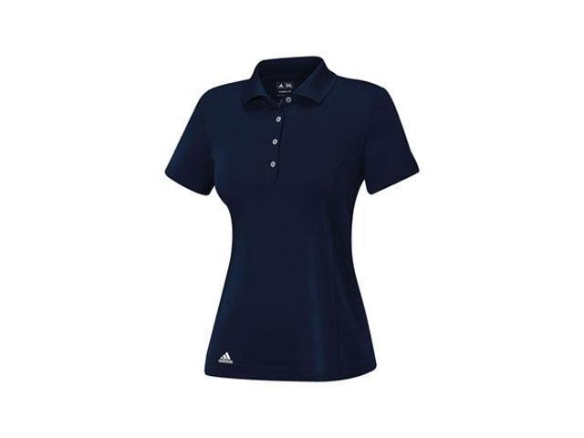Adidas 2014 Women's ClimaLite Essentials Short Sleeve Solid Polo Shirt  (Navy/White - L)