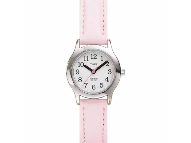 Timex Children's T79081 Pink Leather Quartz Watch with White Dial
